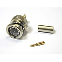 BNC Straight Crimp Plug For BT2002 -  Nickel Plated -  BT crimp Hex (75 Ohm)